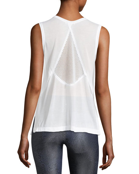 Pivot Crewneck Sleeveless Mesh-Back Top