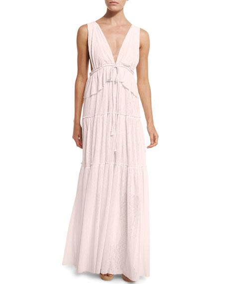 Sleeveless Tiered Voile Maxi Dress, Light Pink