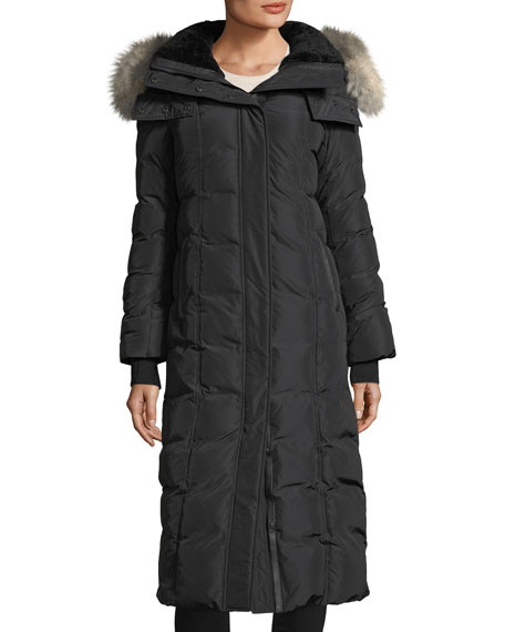 Mackage Jada Long-Sleeve Covered Placket w/ Fur Hood