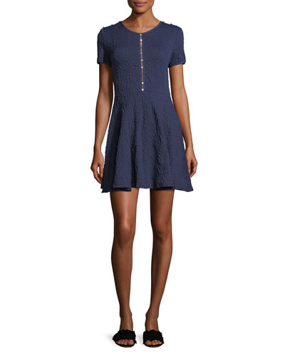 Desert Jacquard Button-Front Flare Mini Dress