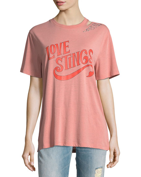 Opening Ceremony Love Stings Slashed Crewneck Tee