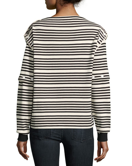 Striped Button-Off High-Neck Long-Sleeve Top