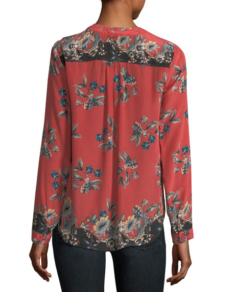 Genevia Long-Sleeve Floral-Print Silk Blouse