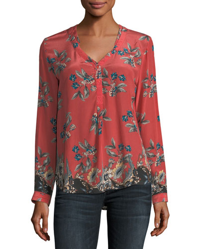 Genevia Long-Sleeve Floral-Print Silk Blouse, Plus Size