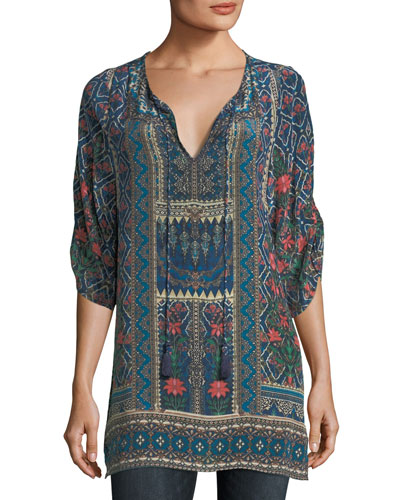 Aster 3/4-Sleeve Printed Silk Long Tunic, Plus Size