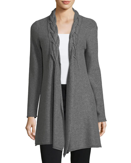Neiman Marcus Cashmere Collection Reverse-Braid Cashmere Cardigan
