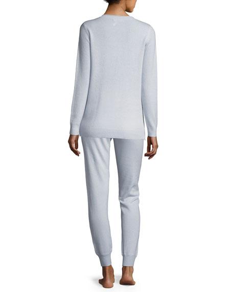 Side-Zip Cashmere Crewneck Sweater & Jogger Pant Lounge Set