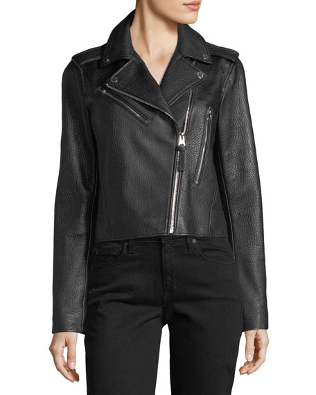 Derek Lam 10 Crosby Zip-Front Grained Leather Jacket