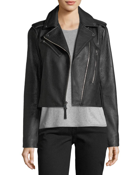 Zip-Front Grained Leather Jacket