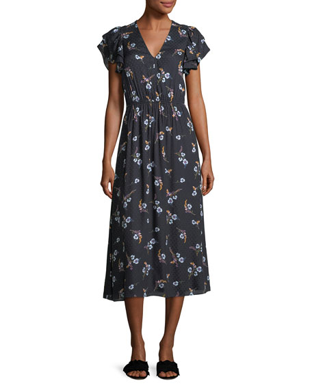 Rebecca Taylor Natalie V-Neck Floral-Printed Midi Dress