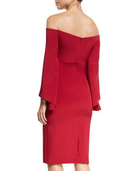 Off-the-Shoulder Portrait Crepe Cocktail Sheath Dress
