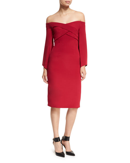 David Meister Off-the-Shoulder Portrait Crepe Cocktail Sheath