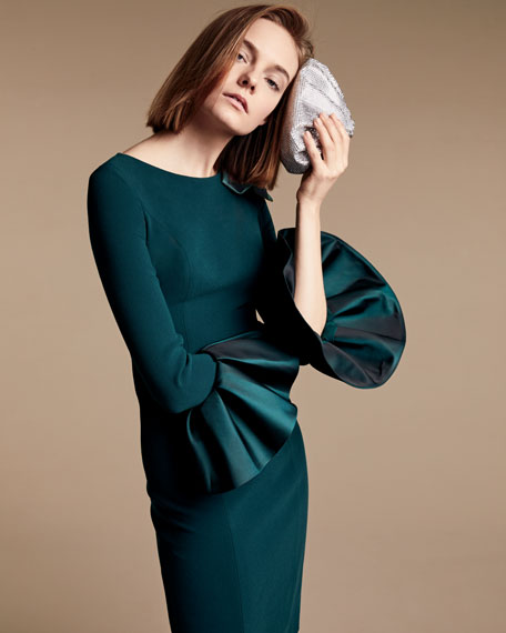 Bell-Sleeve Crepe Sheath Dress