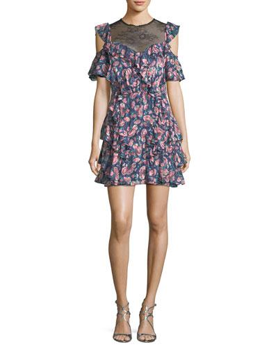 Tea Rose Lace-Neck Open-Shoulder Floral-Printed Dress