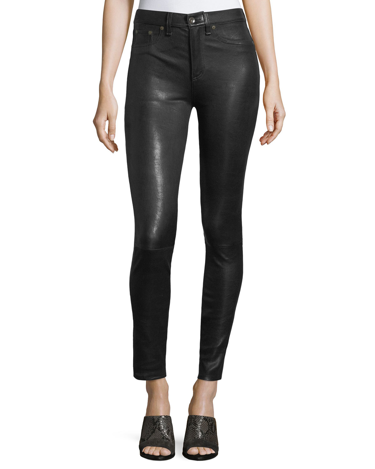e10f354841e6 Rag   Bone High-Rise Lamb Leather Skinny Pants