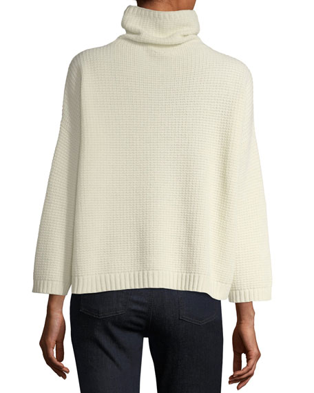 Funnel-Neck Lofty Recycled Cashmere Thermal Sweater