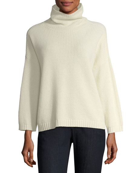 Eileen Fisher Funnel-Neck Lofty Recycled Cashmere Thermal Sweater