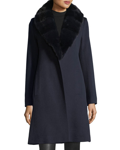 Fleurette Wrap Coat with Mink Fur Collar