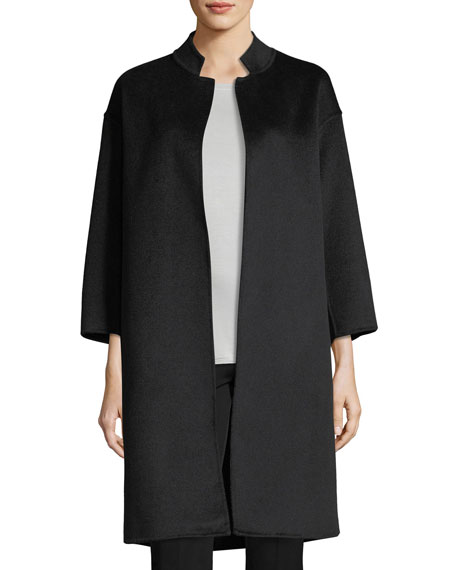 Cashmere Nehru-Collar Wool Coat w/ Detachable Lightweight Puffer Jacket