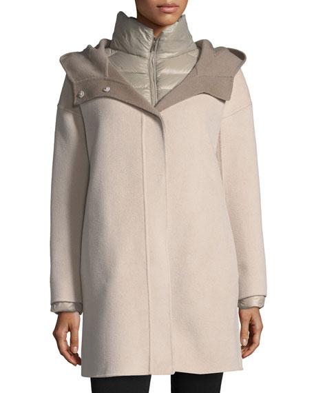 Fleurette Double-Face Hooded Wool Coat w/ Ultra Light