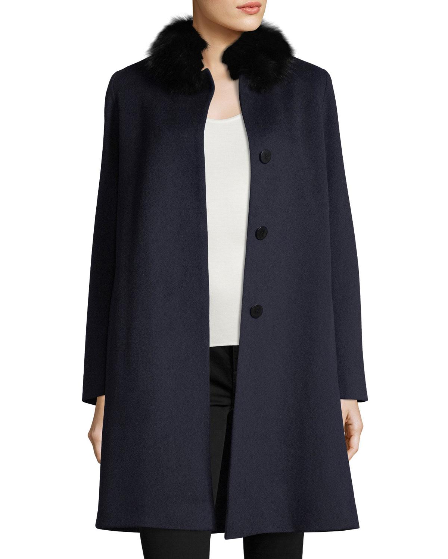 Button Front Fur Trimmed Collar Wool Coat by Fleurette