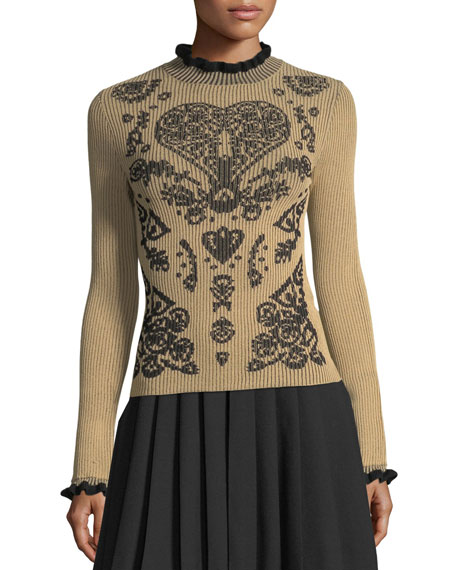 REDValentino Mock-Neck Fractured-Pattern Ribbed Sweater