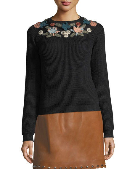 Ribbed Wool Sweater w/ Hand-Stitched Flowers