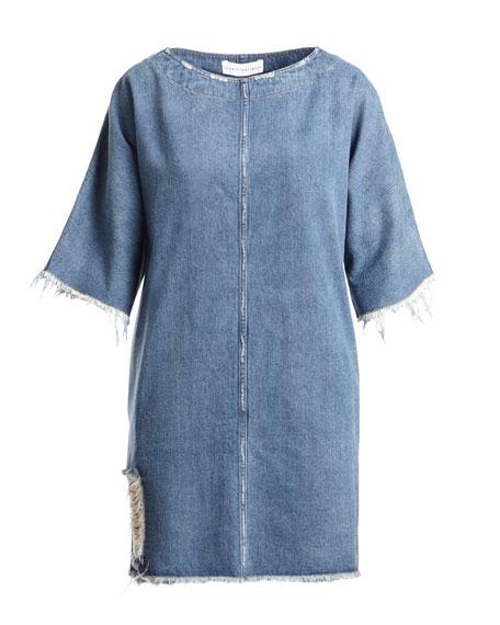 Drop-Shoulder Distressed Denim Shift Dress