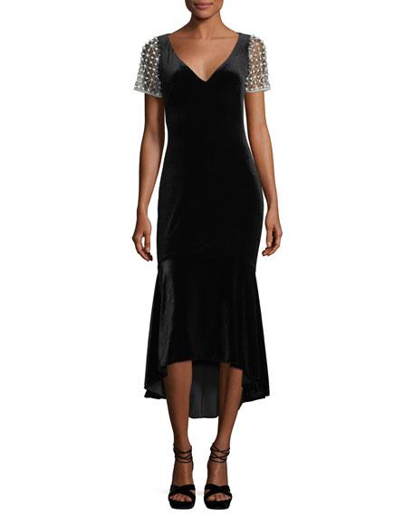 Theia V-Neck Stretch-Velvet Midi Cocktail Dress