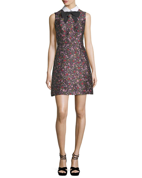 kate spade new york collared sleeveless floral-jacquard mini