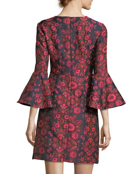 Floral Jacquard Bell-Sleeve Cocktail Dress