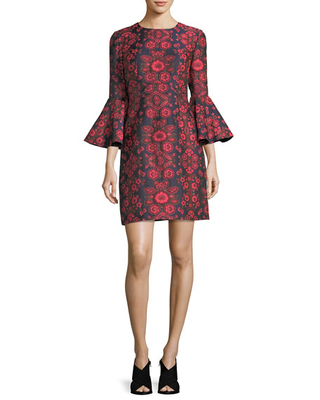 Floral Jacquard Bell-Sleeve Cocktail Dress