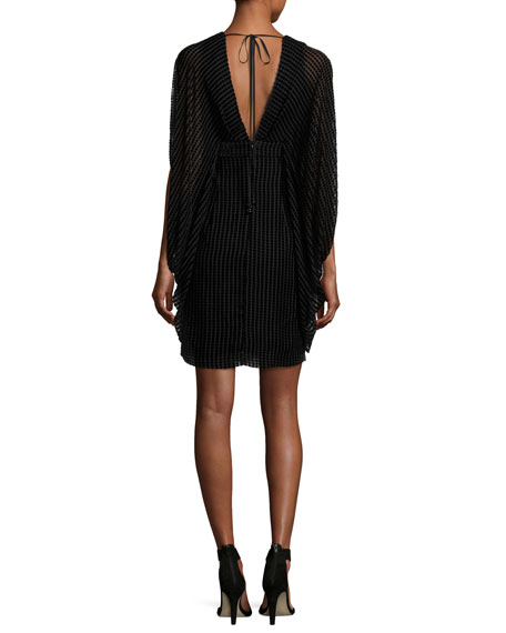 Velvet Grid Burnout V-Neck Cocktail Dress