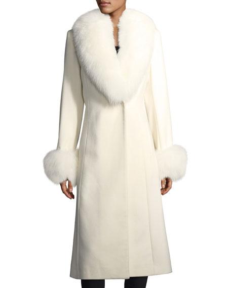 Long-Sleeve Fur Collar & Cuffs Wool-Cashmere Coat