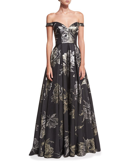 Sweetheart Off-the-Shoulder Metallic Brocade Evening Gown