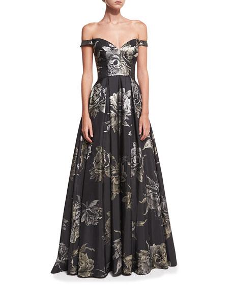 Jovani Sweetheart Off-the-Shoulder Metallic Brocade Evening Gown