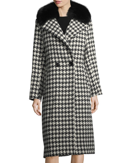 Sofia Cashmere Houndstooth Double-Breasted Alpaca-Wool Coat w/