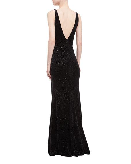 Deep V-Neck Studded Sleeveless Velvet Gown