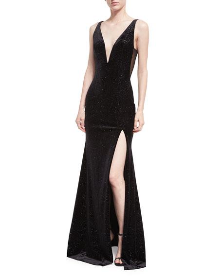 Jovani Deep V-Neck Studded Sleeveless Velvet Gown