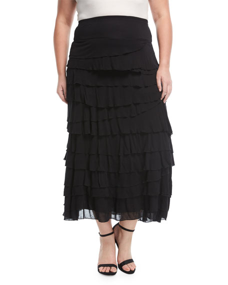 Tiered Pull-On Maxi Skirt, Plus Size