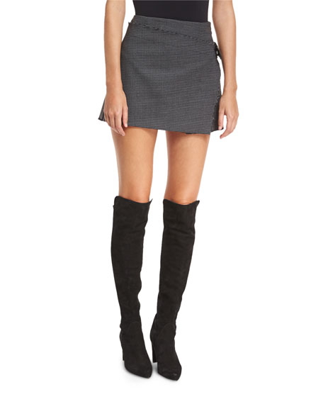 Helmut Lang Houndstooth-Printed Pleated Mini Skirt w/ Frayed