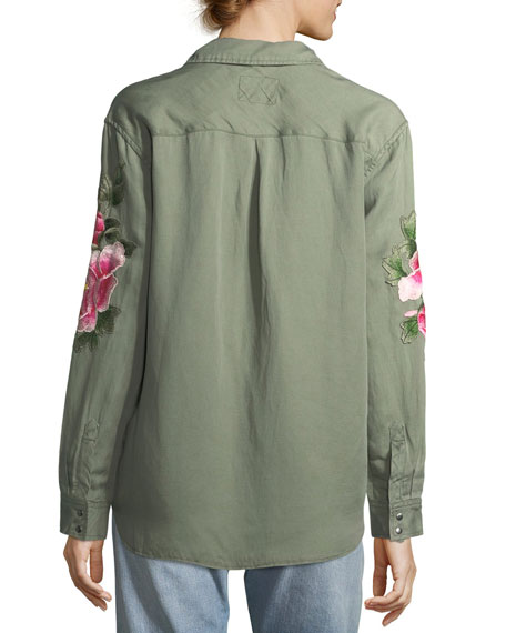 Marcel Snap-Front Floral-Embroidered Shirt