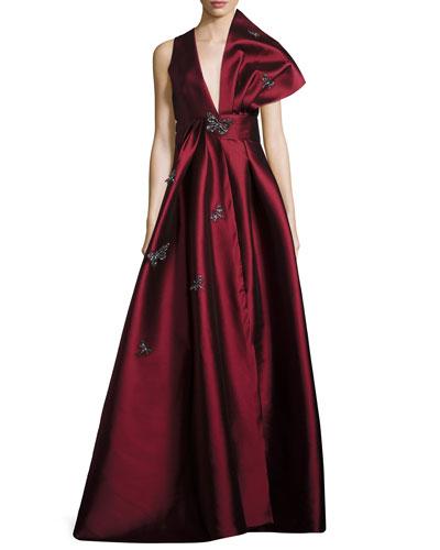 Indhira Plunging Sculpted-Shoulder Embellished Evening Gown
