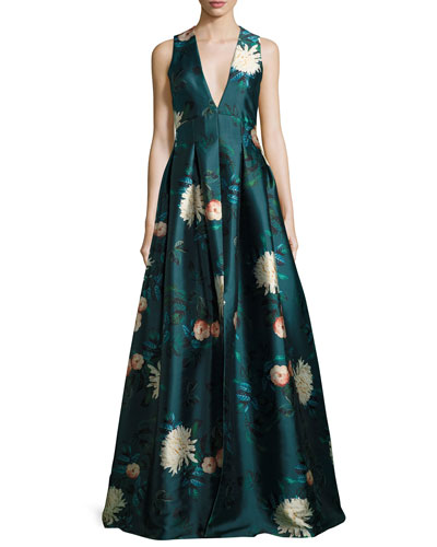 Dharma Plunging Sleeveless Floral-Printed Evening Gown