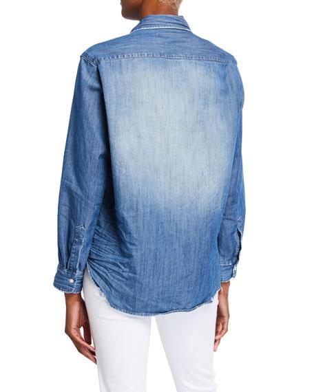 Long-Sleeve Button-Front Faded Denim Shirt