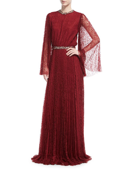 Sachin & Babi Vidya Long-Sleeve Embellished Lace Gown