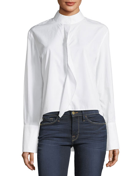 FRAME Cravat Long-Sleeve High-Low Poplin Shirt