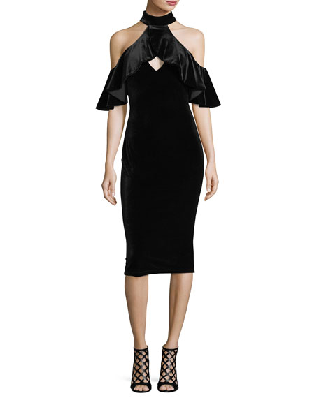Black Halo Lambert Velvet Cold-Shoulder Cocktail Dress