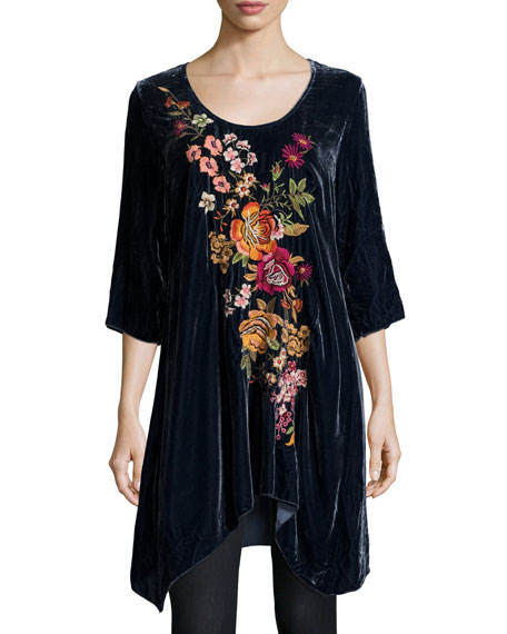 Johnny Was Michelle Embroidered Velvet Tunic, Petite