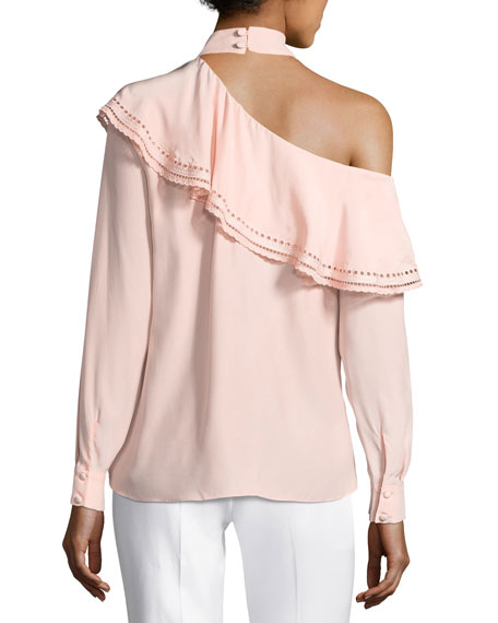 Bellini One-Shoulder Silk Blouse w/ Eyelet